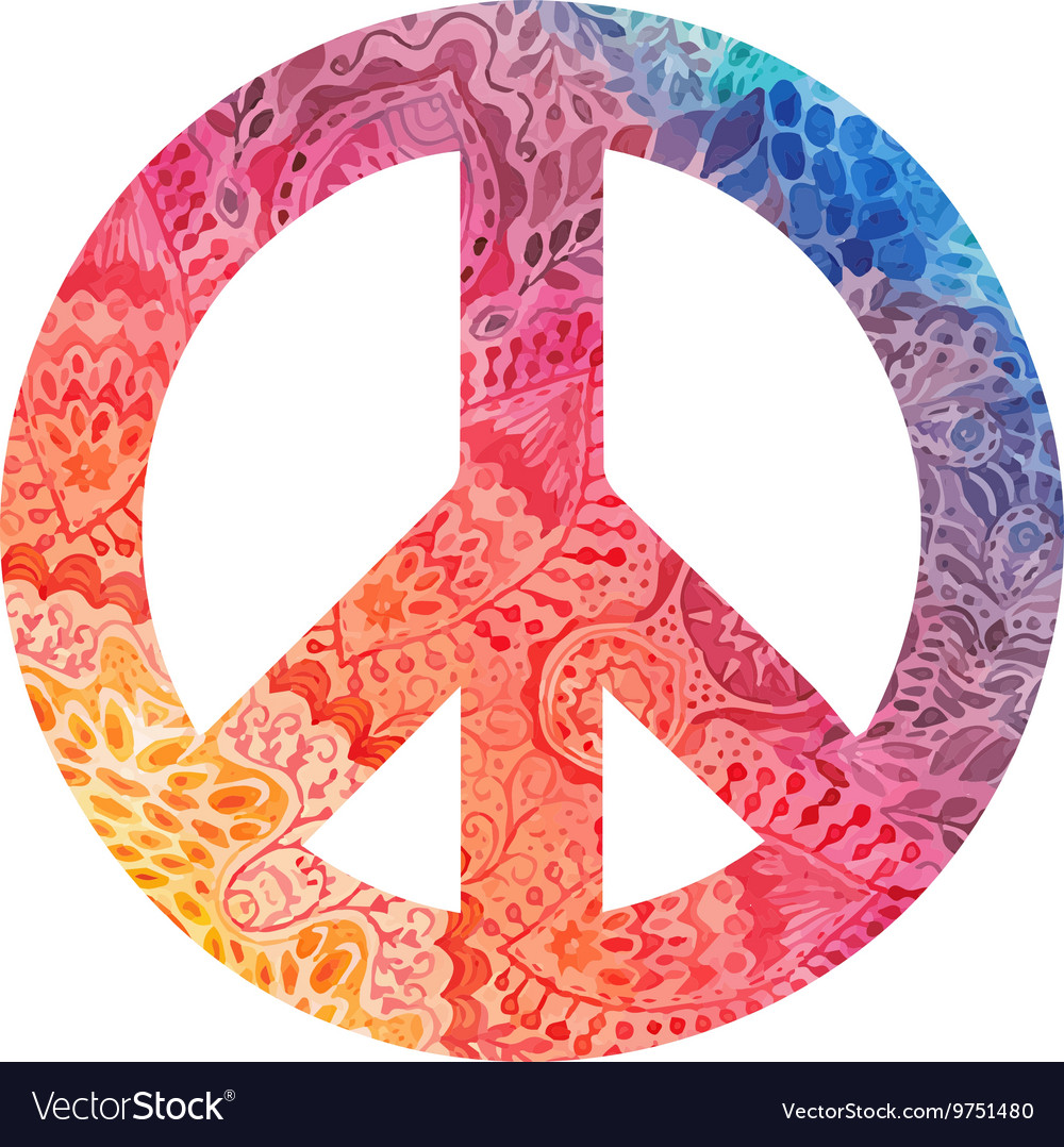 Watercolor peace symbol vector