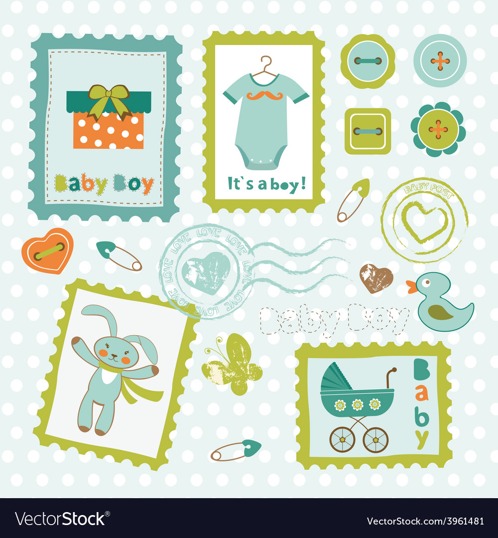 Baby boy card stamps cute collection vector