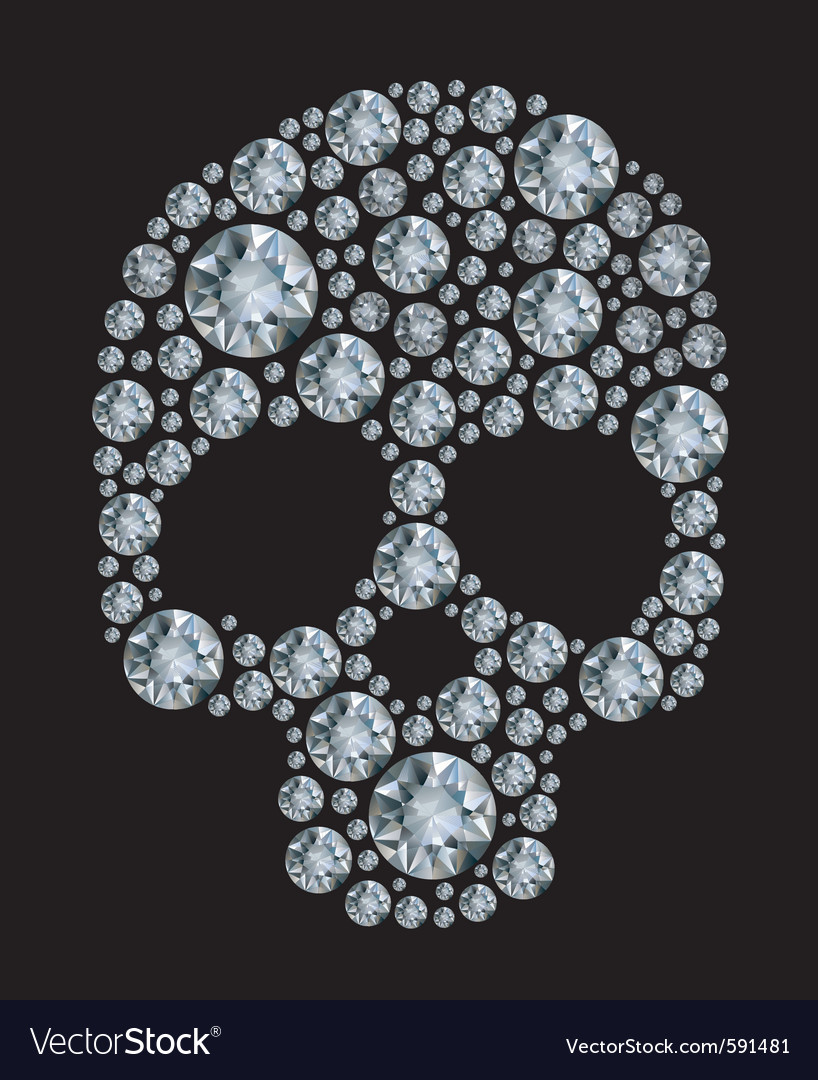 Diamond skull vector