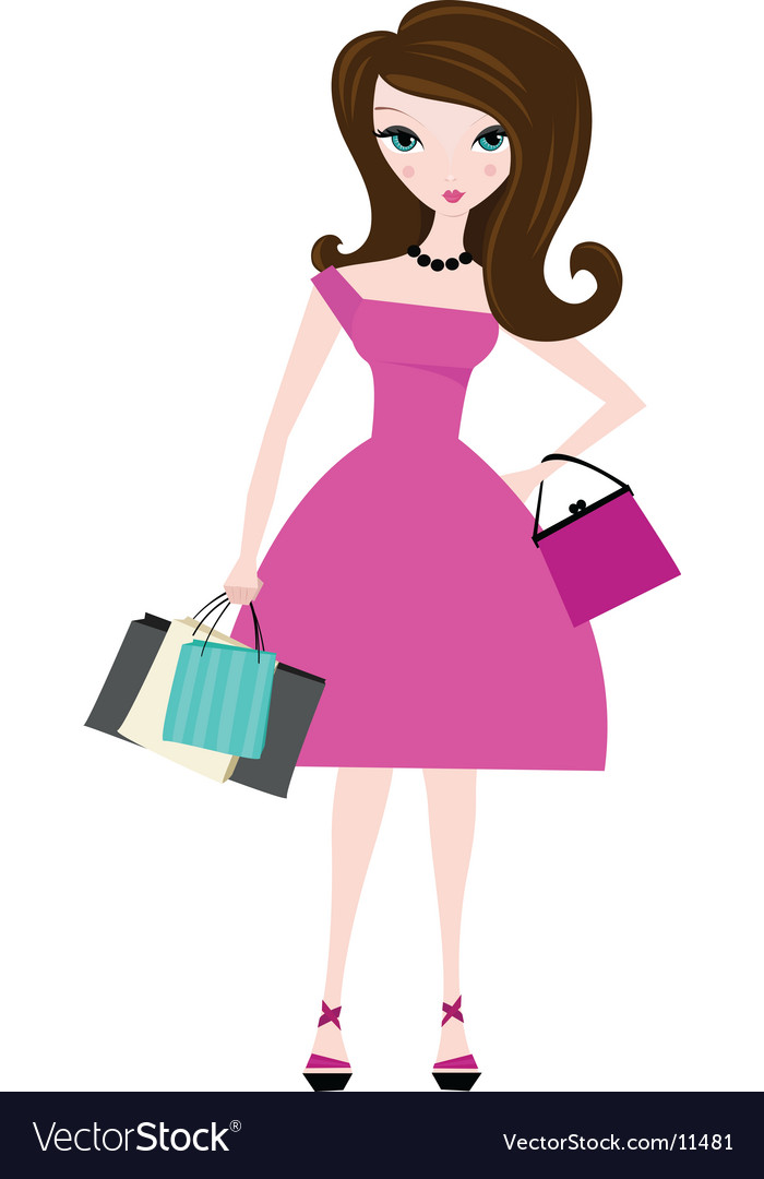 Shopping in pink vector