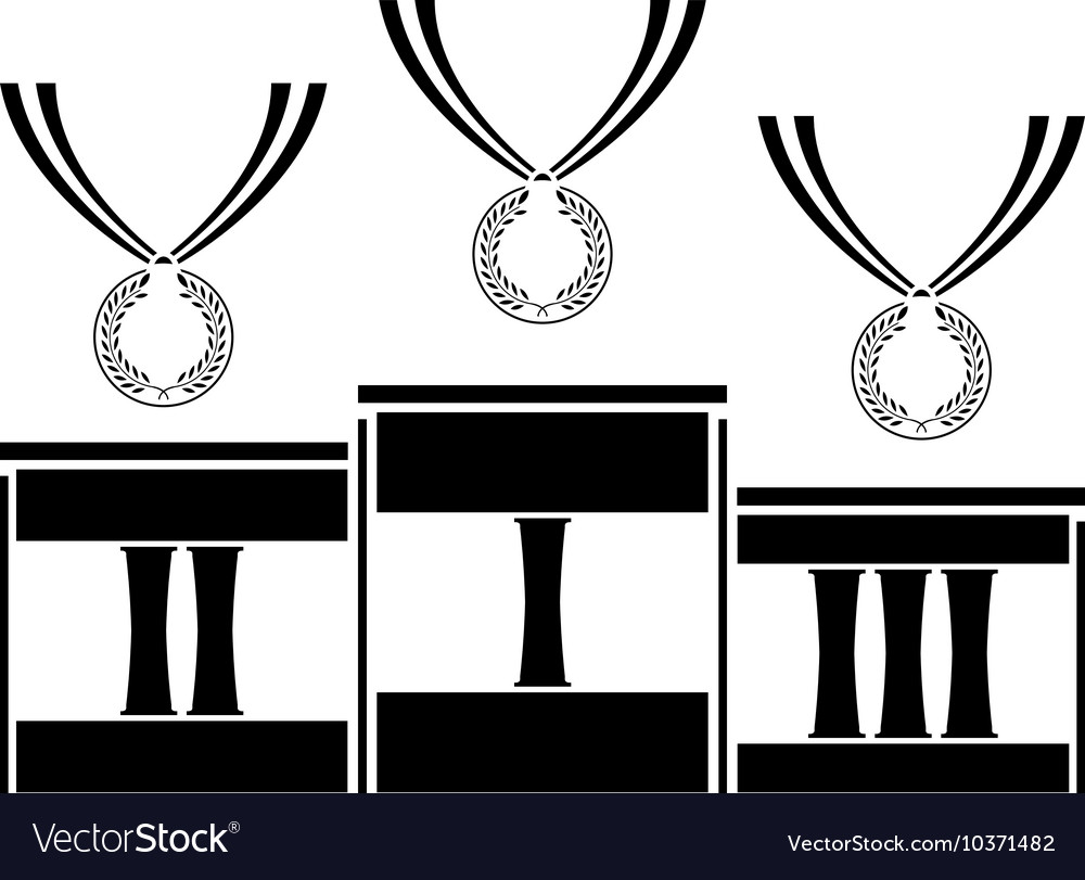 Pedestal with medals stencil second variant vector
