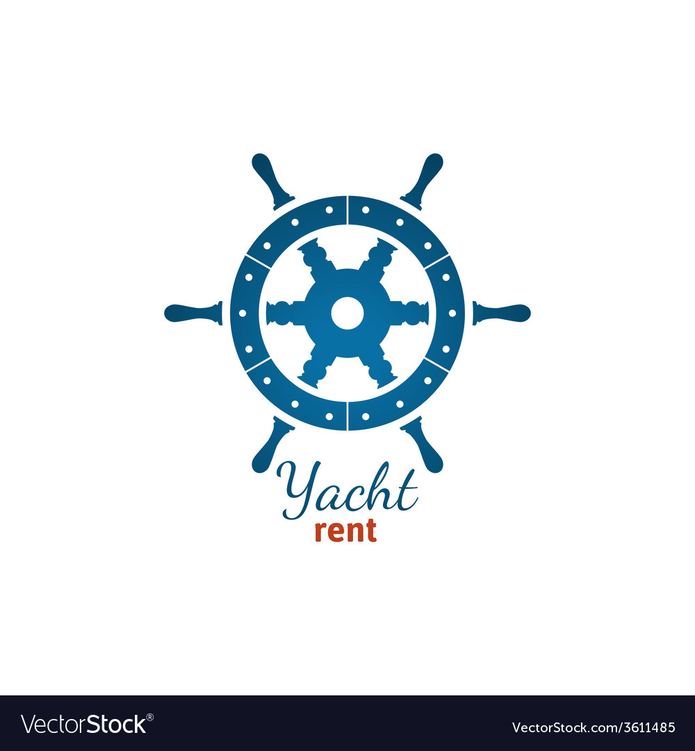 Yacht rent logo template with steering wheel vector