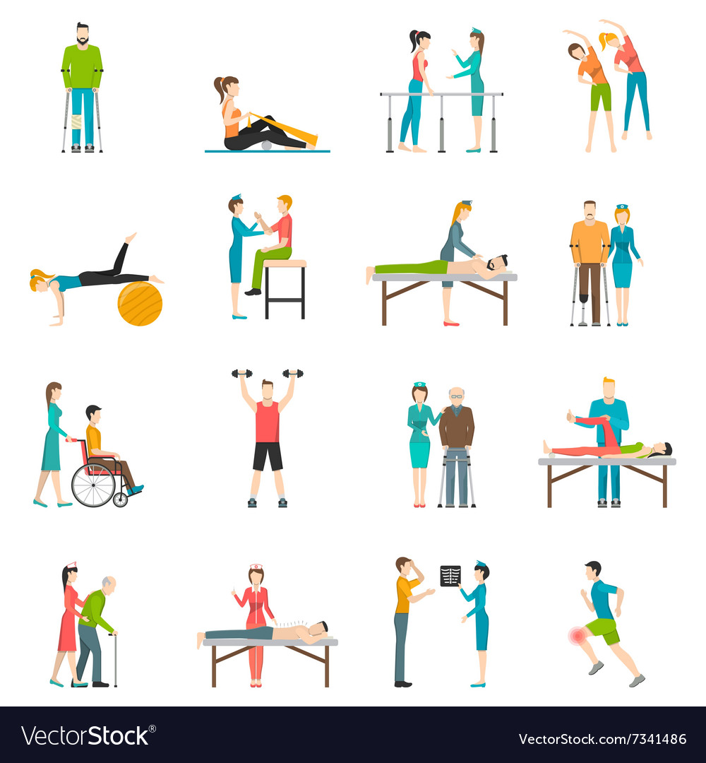Physiotherapy rehabilitation color icons vector