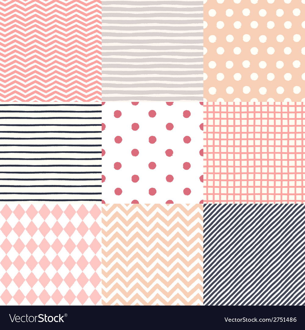 Set of 9 hand drawn painted geometric seamless vector