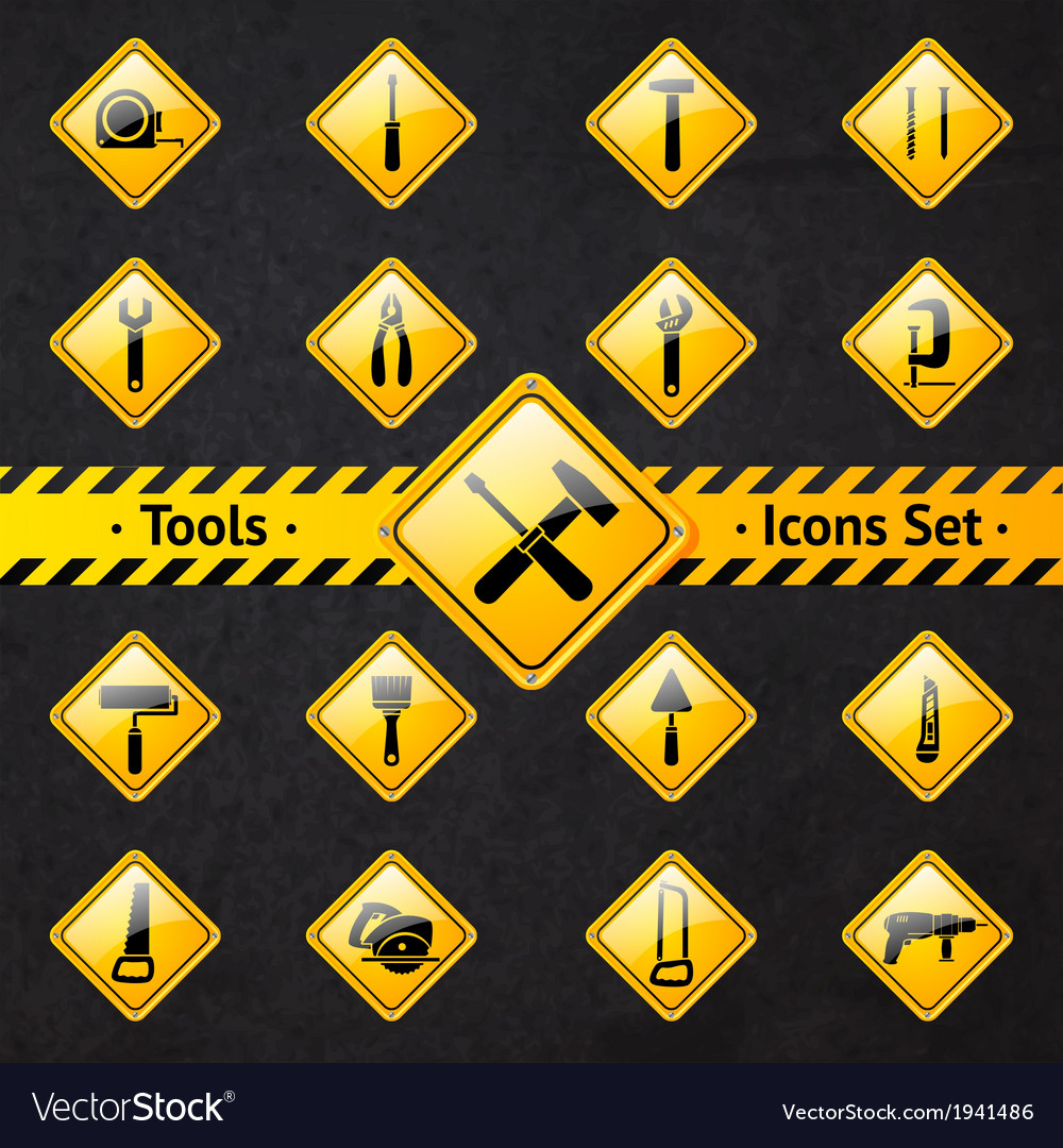 Toolbox attention yellow and black signs vector