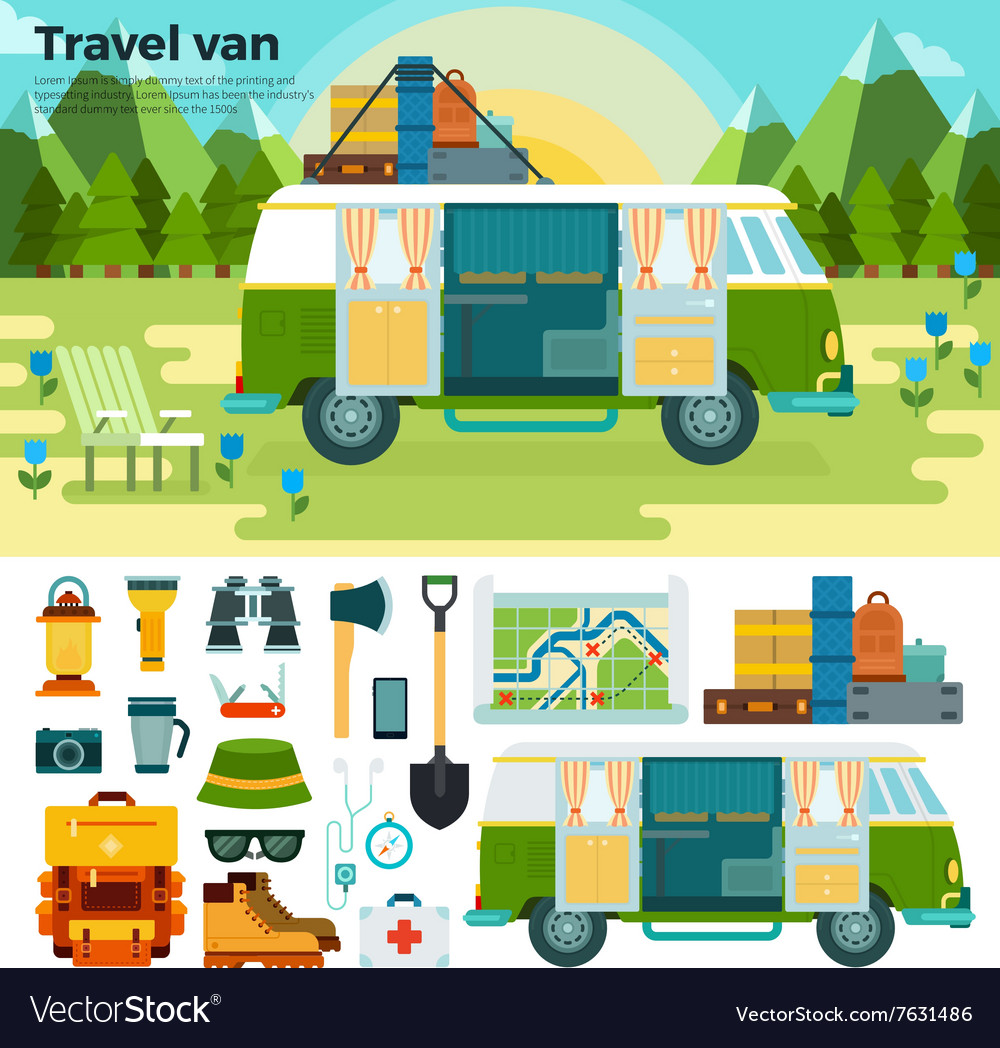 Travel van in the forest near mountains vector