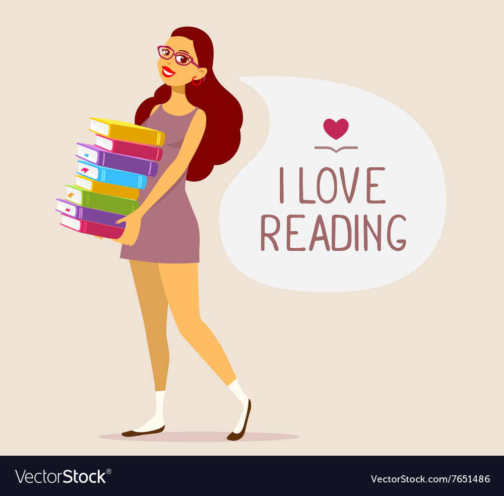 Young girl in dress with pile of books on vector
