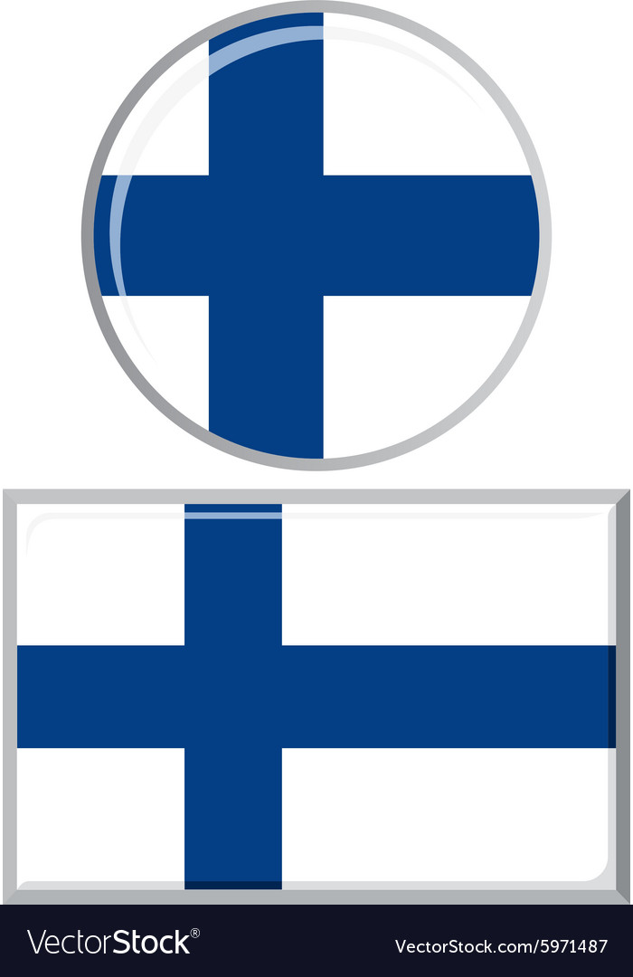 Finnish round and square icon flag vector