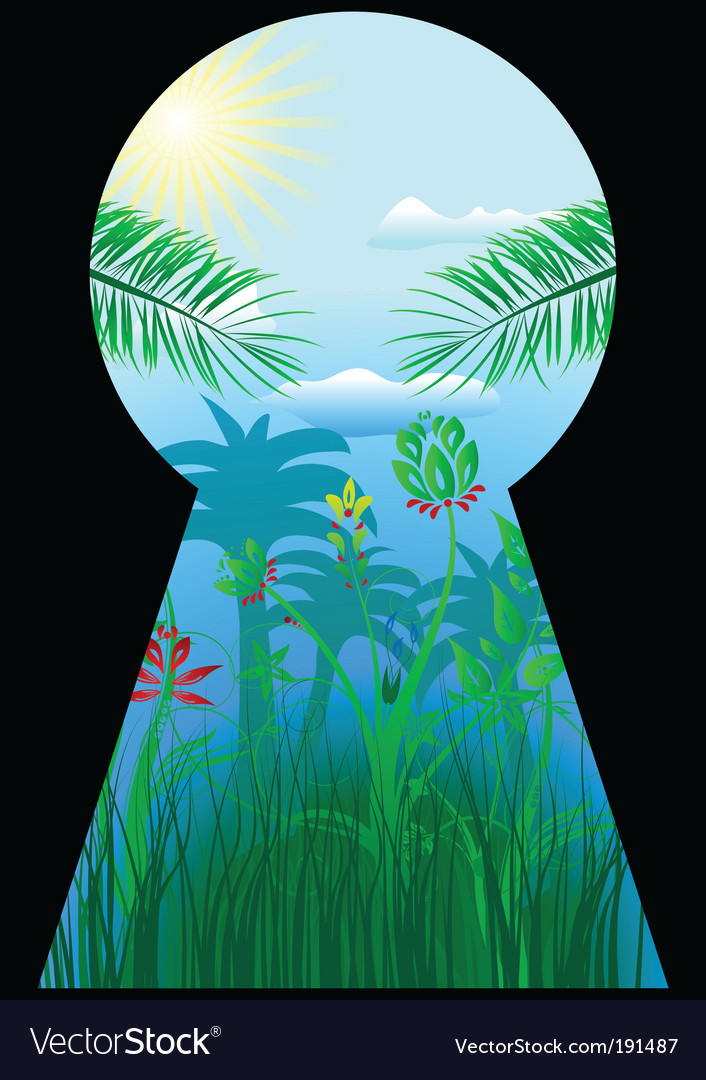 Keyhole in the tropical world vector