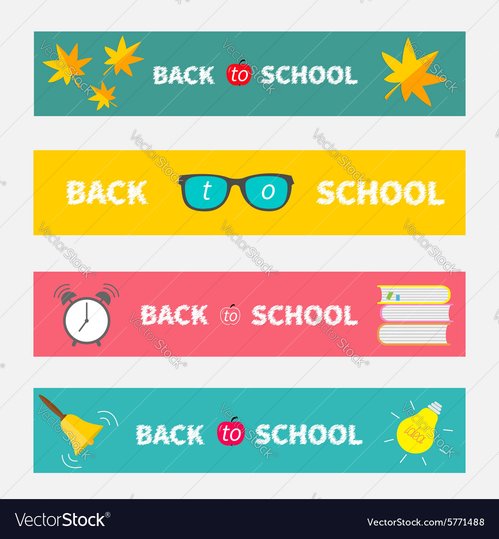 Back to school banner set bell alarm clock vector