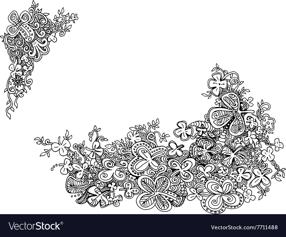 Hand drawn shamrock clover doodles vector
