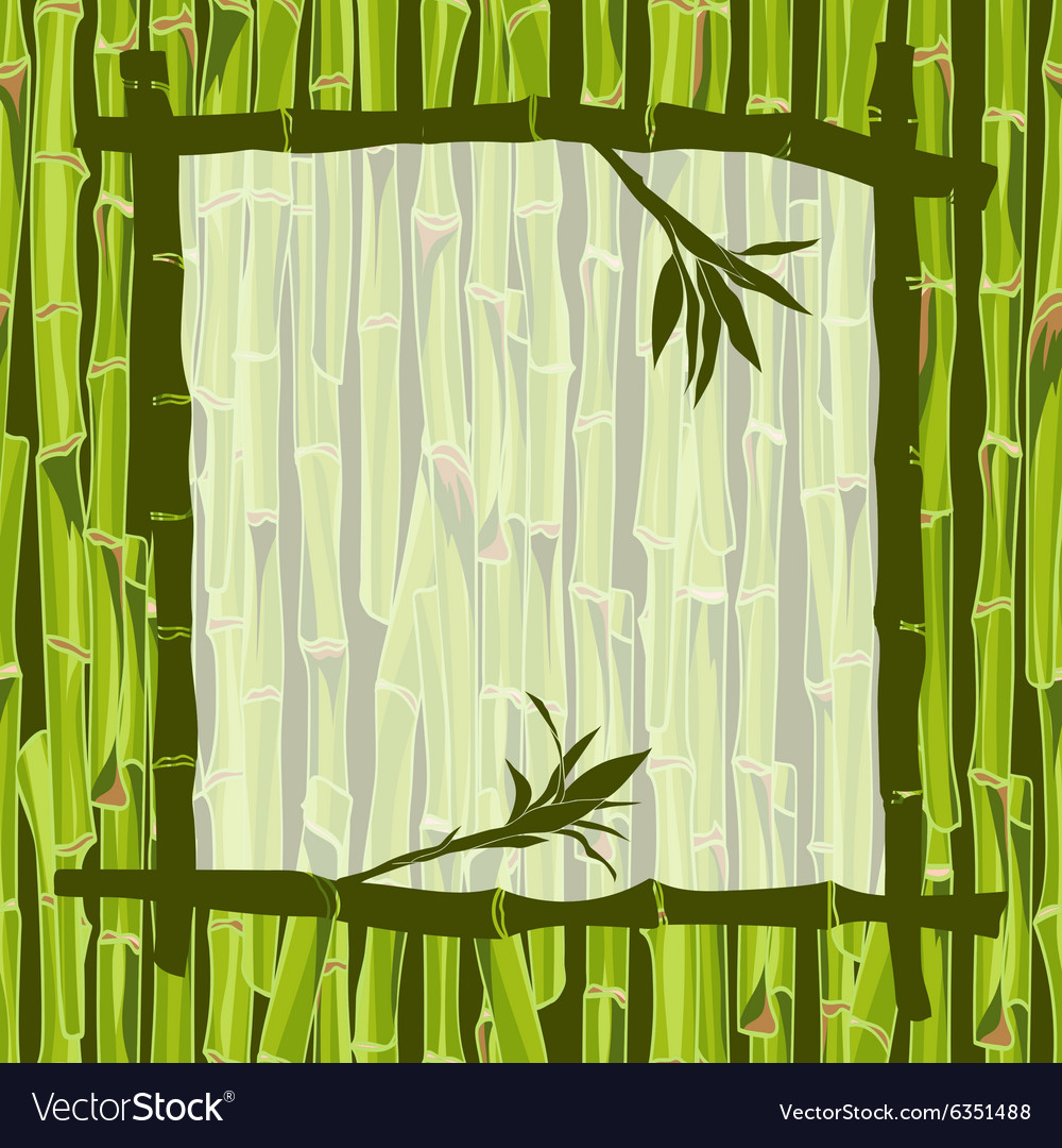 Handdrawn green bamboo frame bacground with space vector