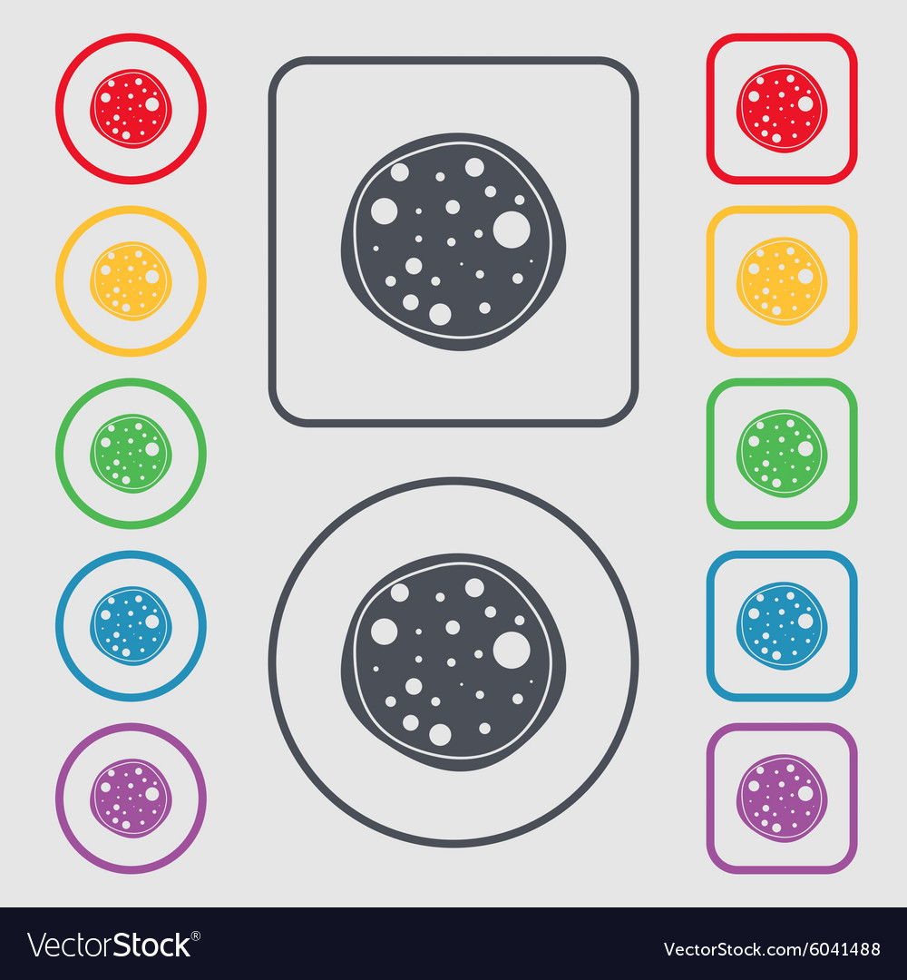 Pizza icon symbols on the round and square buttons vector