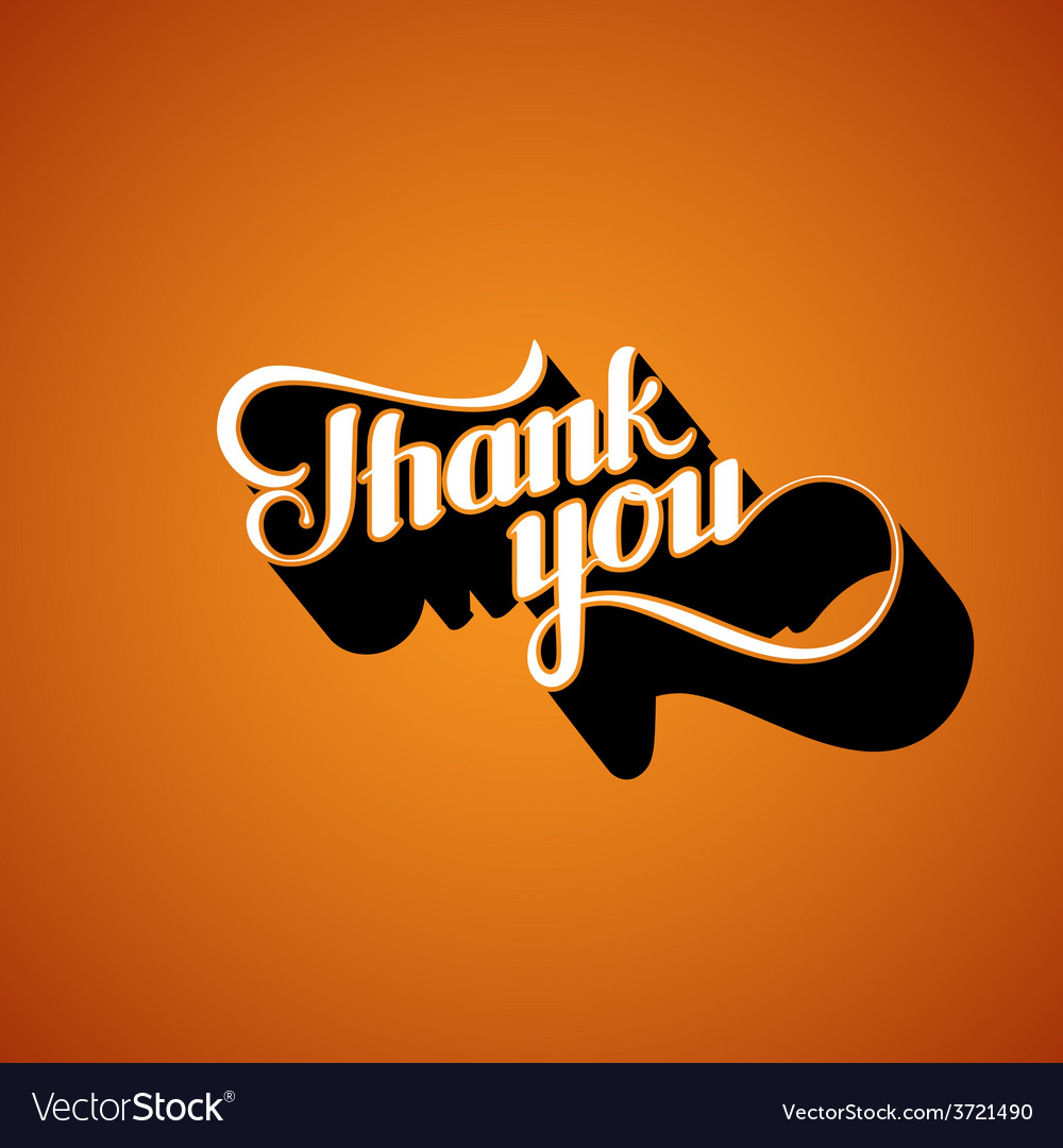 Handwritten thank you retro label vector