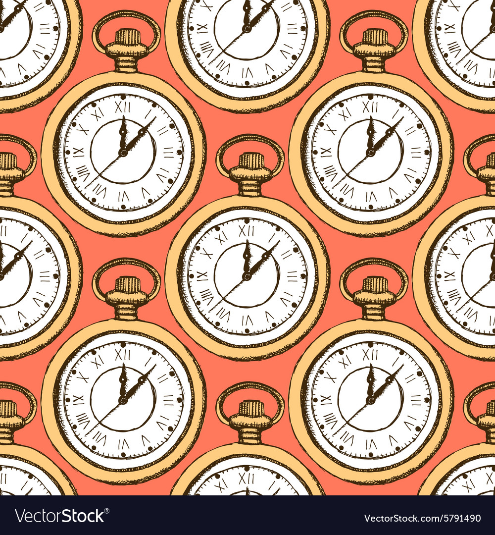 Sketch pocket watch in vintage style vector