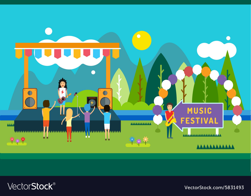 Music festival outdoor landscape vector