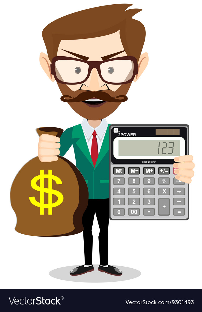 Person with calculator and money vector