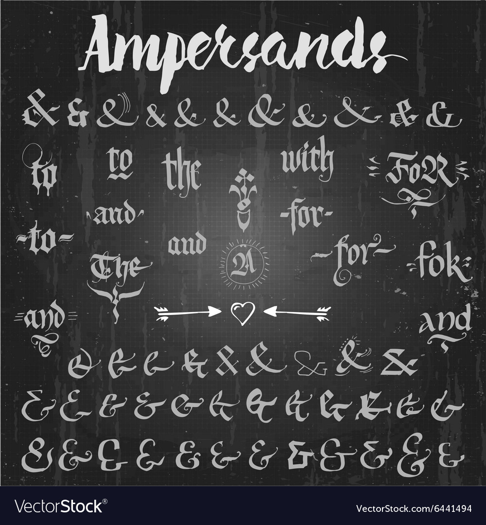 Ampersands hand drawn and catchwords vector