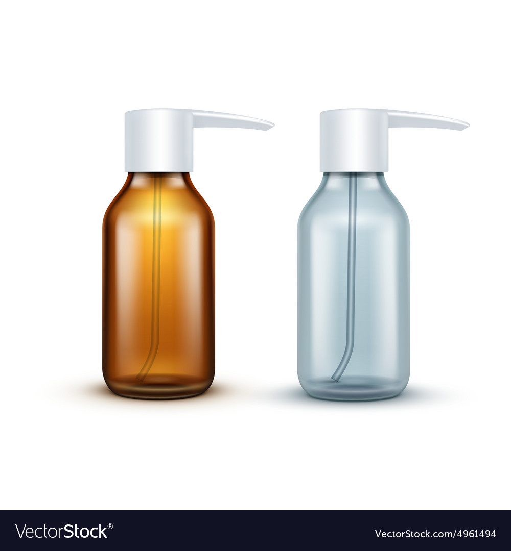 Blank glass medical spray bottle isolated vector