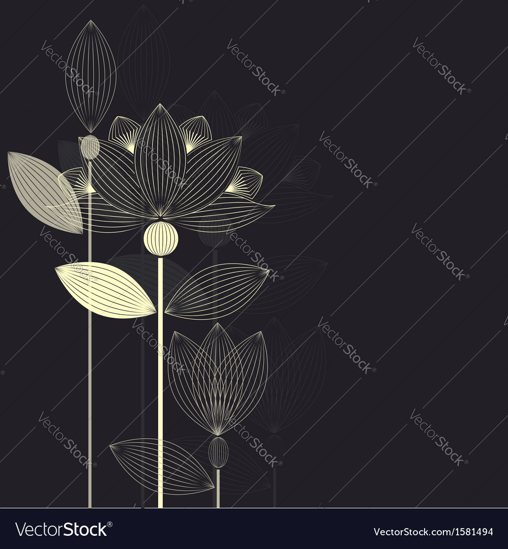 Lotus card dark vector