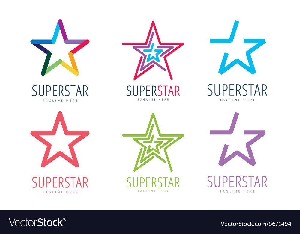 Star logo icon template set leader boss vector