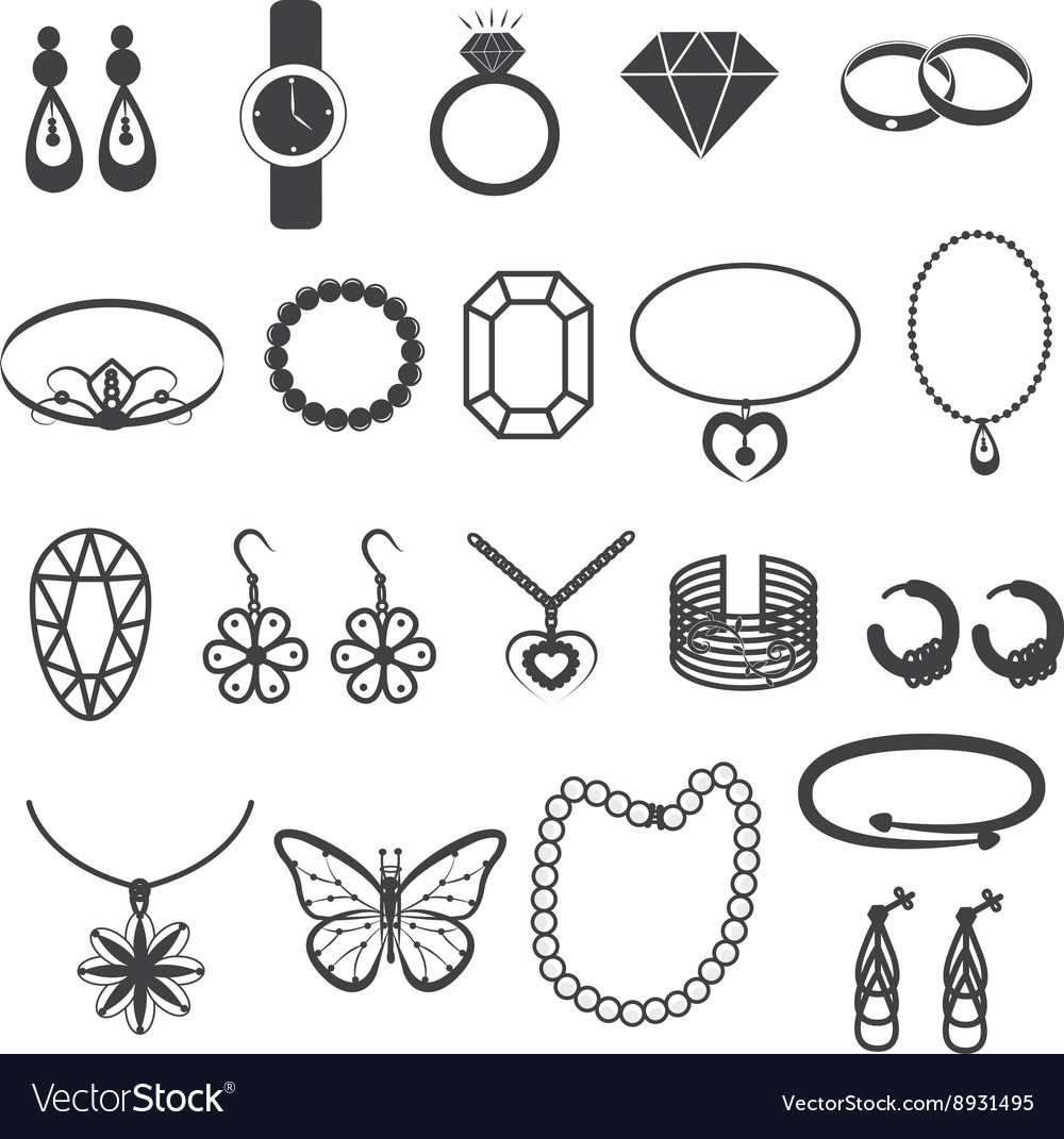 Jewelry accessories and gemstone icons set vector