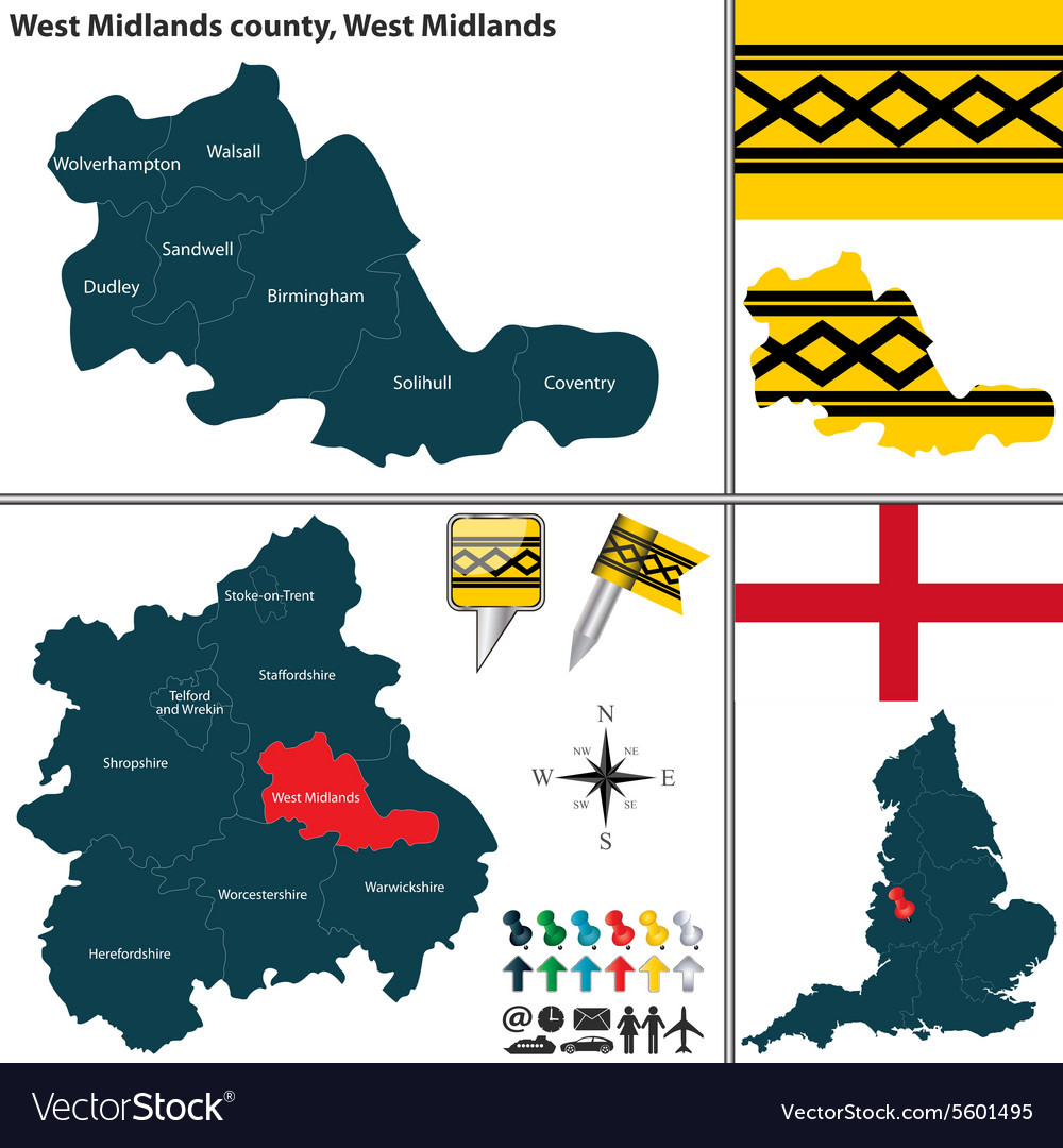 West midlands county west midlands vector