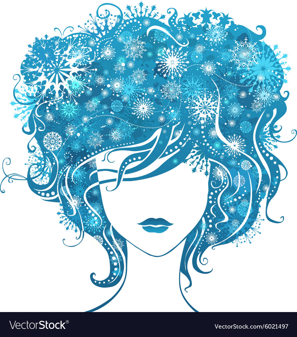 Abstract girl with snowflakes in hair vector