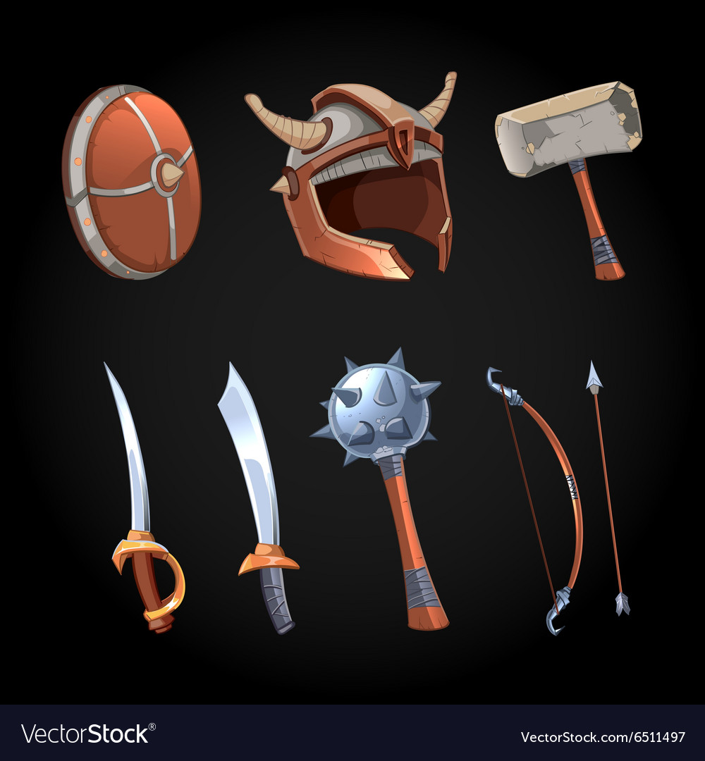 Cartoon fantasy weapons icons set vector