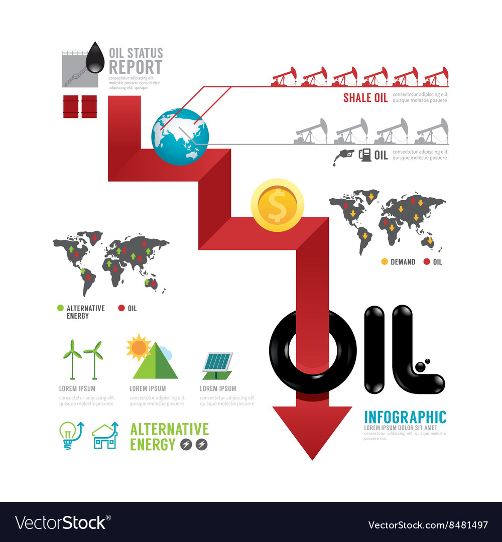 Infographic oil business of the world arrow concep vector