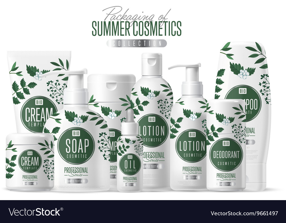 Organic cosmetic brand template packaging set vector