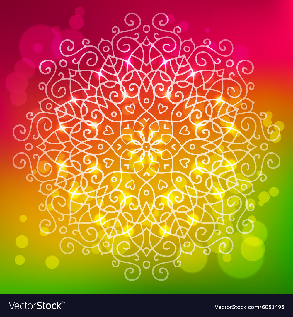 Abstract bright background with a round mandala vector