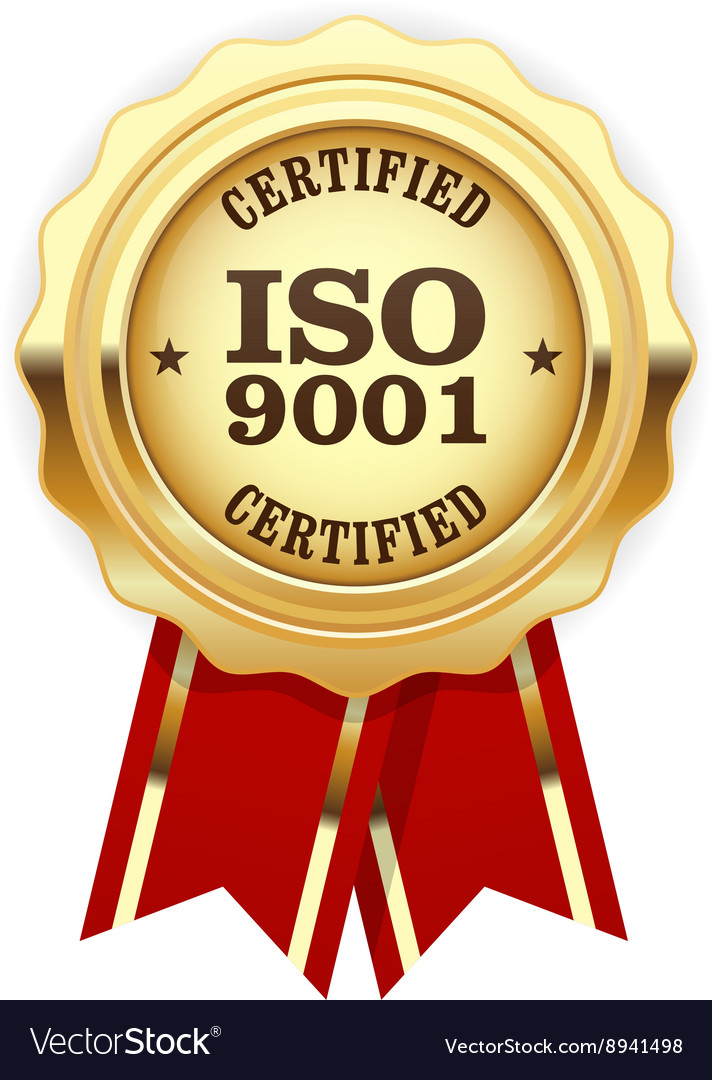 Iso 9001 certified  quality standard golden seal vector