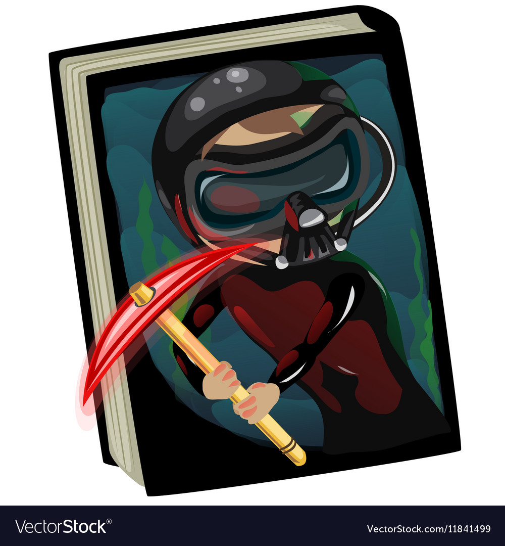 Detective book about the evil diver character vector