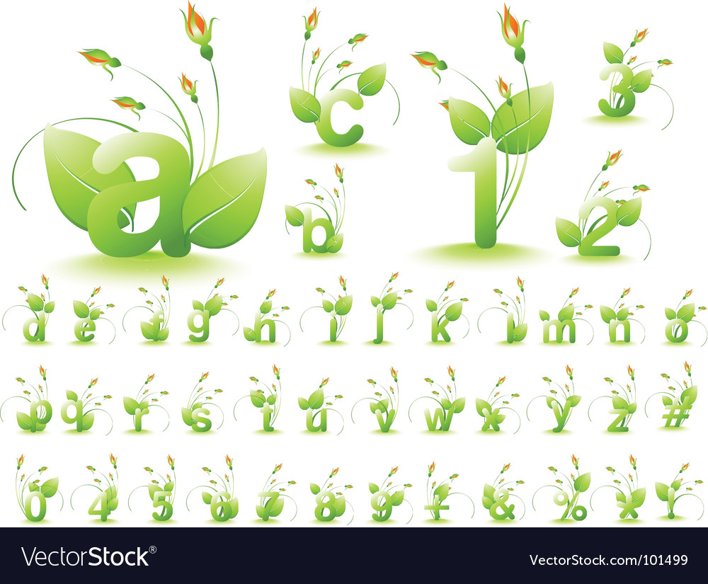 Nature alphabet vector