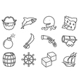 thin and simple pirate and criminal icons set vector image