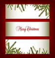 Classic Christmas banners with pine needles vector image