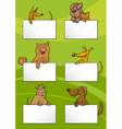 dogs with cards cartoon design set vector image vector image