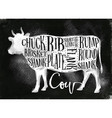 beef cutting scheme chalk vector image
