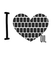 I love oil Symbol heart of barrels of oil vector image