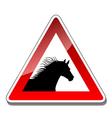 A warning sign horse vector image
