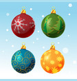 colorful christmas ball set isolated vector image
