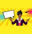 pop art cartoon comic sexy black stewardess vector image
