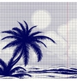 Palm tree and ocean sketch vector image