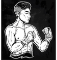 Gritty Asian boxer or Muay Thai martial artist vector image