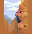 happy smiling man character climbing rock vector image