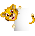 cute baby tiger with blank sign vector image