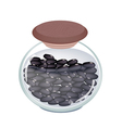 A Glass Jar of Preserved Black Beans vector image