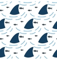 Shark fin in water waves seamless pattern vector image