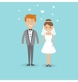 Cute cartoon wedding couple vector image